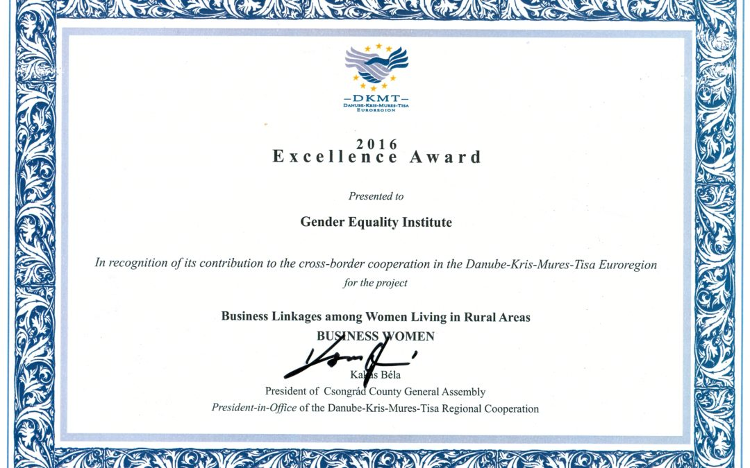 Zavodu za ravnopravnost polova uručena nagrada za projekat prekogranične saradnje sa Mađarskom